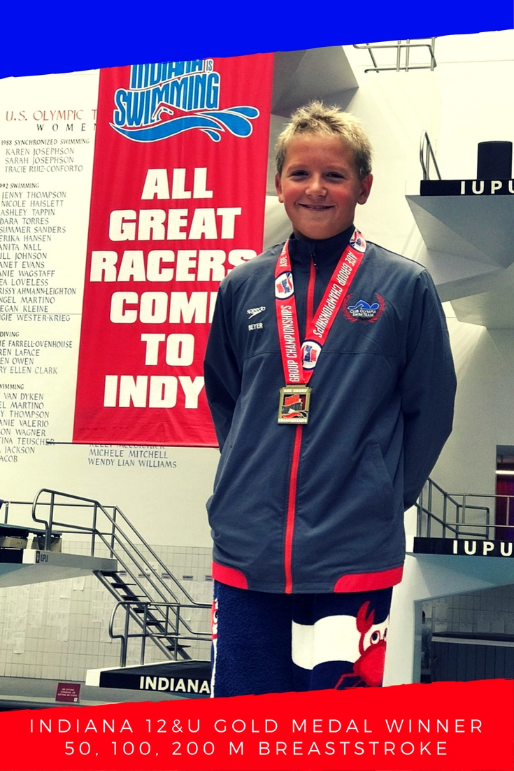 Winning the 2017 Indiana State Swimming Gold Medal for 12 and under boys in the 50, 100, and 200 Breaststroke.