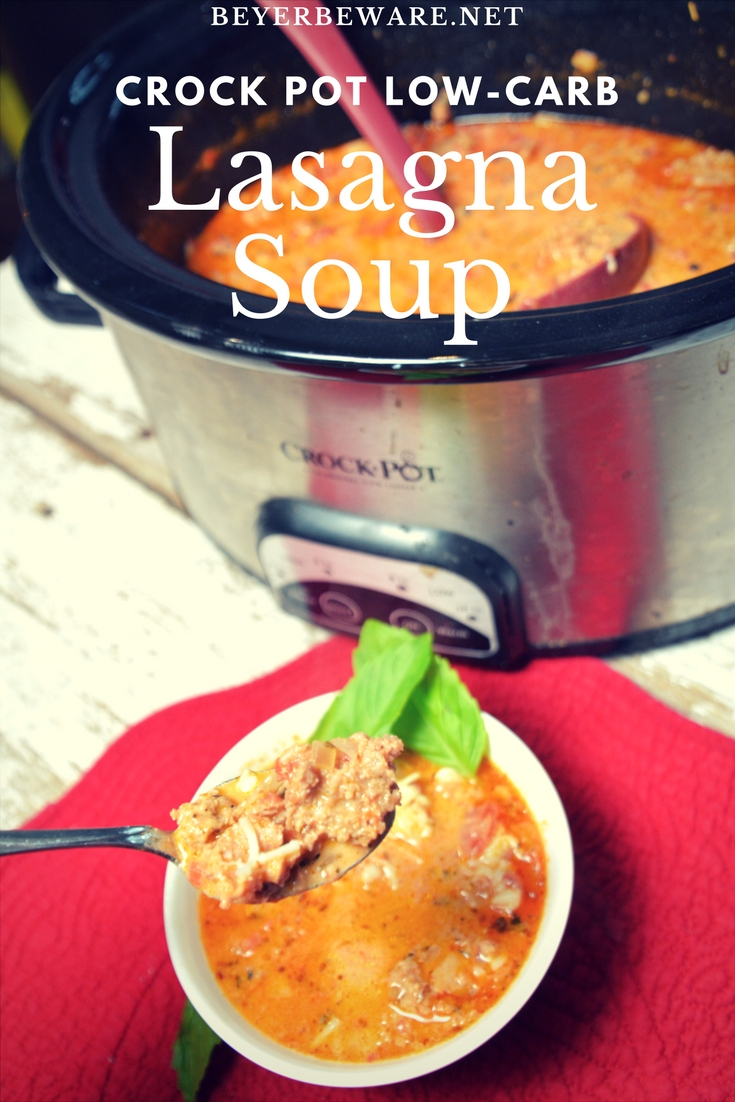 Keto Lasagna Soup - Creamy, rich, and meaty make this crock pot low-carb lasagna soup recipe a hearty one I will make over and over. #keto #lowcarb #crockpot #lasagnasoup #soup #ketosoup