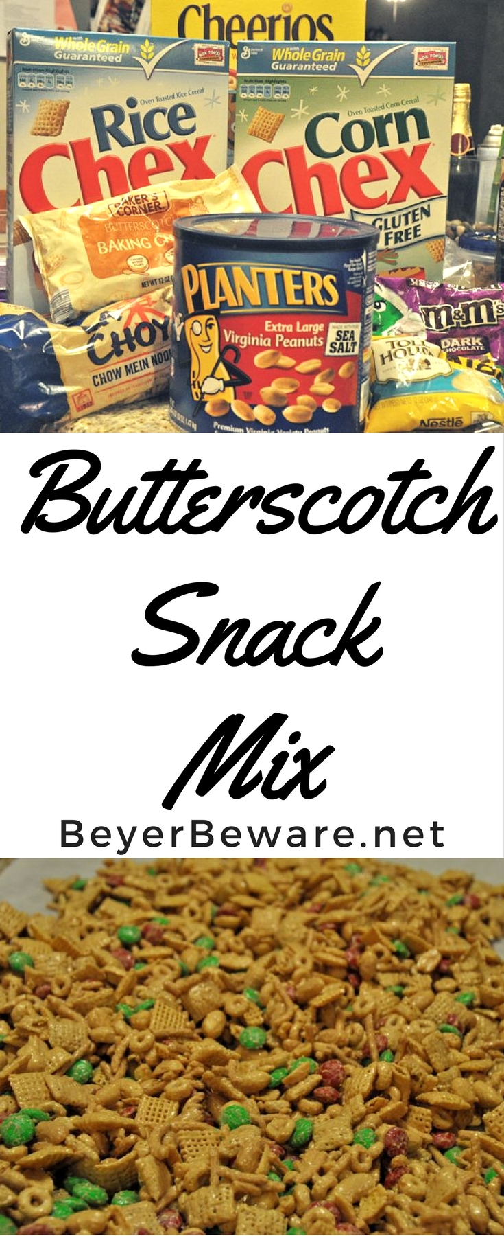 Butterscotch Snack Mix is the sweet and salty combinations of Chex and Cheerio cereasl, peanuts, and candy covered in butterscotch and peanut butter coating. #SnackMix #PeanutButter #Snacks #ChexMix