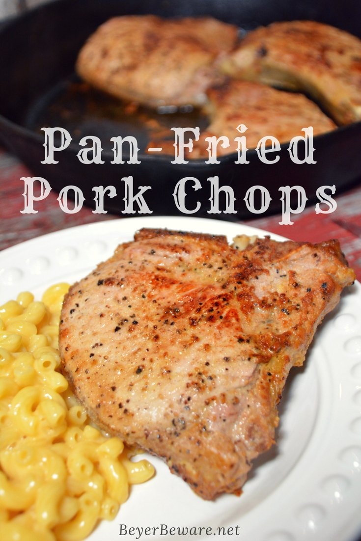 When I am looking for a no-nonsense focus on the pork chop recipe, this pan-fried pork chop recipe is my go-to since there is no flour, no marinading, no waiting, just juicy, flavorful pork chops.