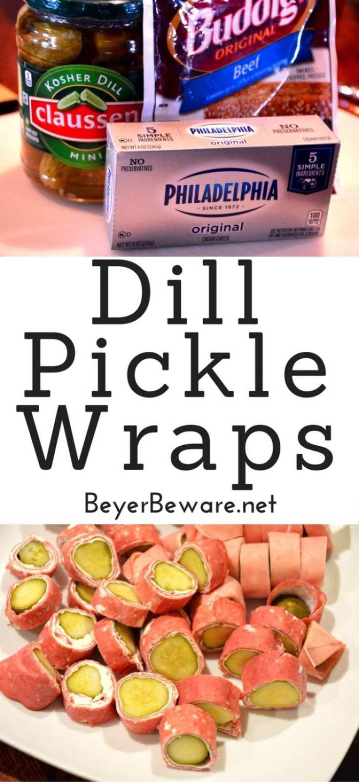 Three simple ingredients to make these dill pickle wraps for an easy low-carb and gluten free snack. #Keto #LowCarb #KetoSnacks