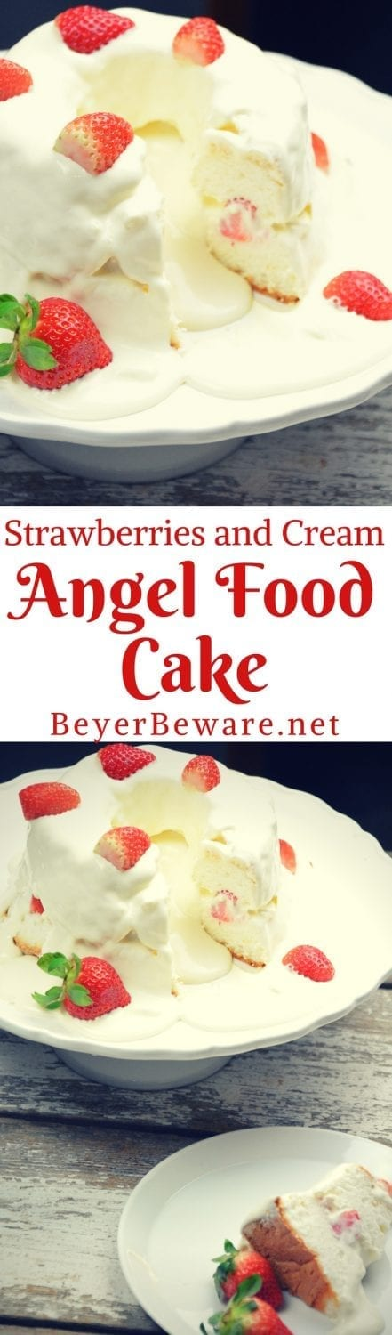 Strawberries and Cream Angel Food Cake is semi-homemade dessert that is ready in under 10 minutes with the sweet combination of cool whip, cheesecake pudding and powdered sugar poured over angel food cake and strawberries.