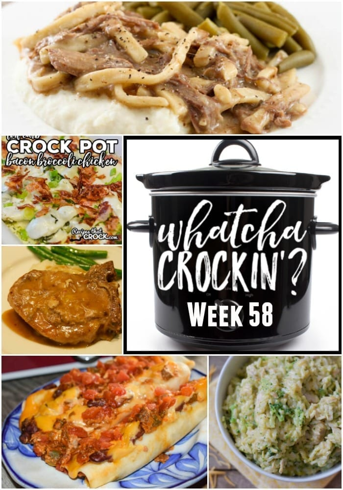This week's Whatcha Crockin' crock pot recipes include Instant Pot Cheesy Chicken Broccoli Rice, Crock Pot Beef and Noodles, Crock Pot Ground Beef Acapulco Enchiladas, Crock Pot Bacon Broccoli Chicken, Crock Pot Pepsi Pork Chops, Instant Pot Sweet Potato Chipotle Chili, Slow Cooker Cheesy Taco Dip, Oooey Gooey Crock Pot BBQ Chicken Wings and many more!