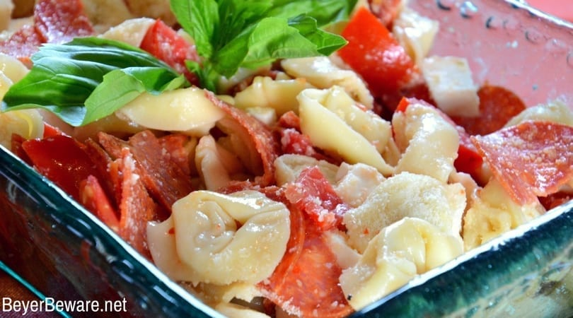 For pizza lovers, this pepperoni pizza tortellini pasta salad will quickly become one of your favorite pasta salads with cheese, tomato, and pepperoni flavors in every single bite.