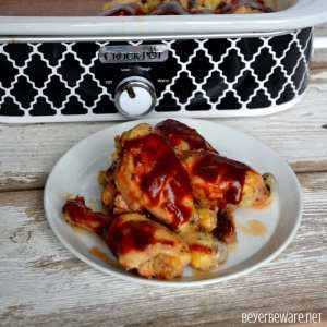 Crock Pot BBQ Ranch Chicken Legs is a simple three ingredient chicken recipe that cooks in the casserole crock pot in three hours. #CrockPot #ChickenRecipes #ChickenLegs