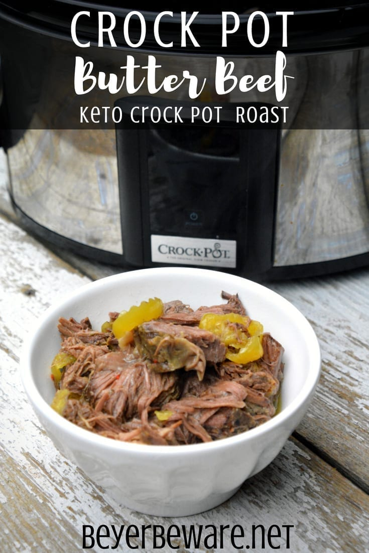The combination of butter, ranch and Italian seasonings with the banana pepper rings give lots of zesty flavors making crock pot butter beef my go-to keto crock pot beef roast recipe.