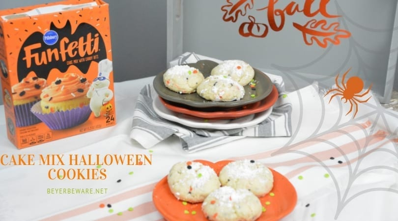Cake Mix Halloween Cookies are a sweet combination of the funfetti cake mix with cream cheese, butter, vanilla, and eggs to form the softest cookies everyone will love. #cookies #CakeMix #CakeMixRecipes #CakeMixCookies