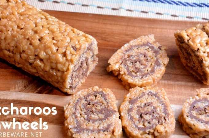 These scotcharoospinwheels combine the crispy rice cereal, peanut butter, sugar, and corn syrup for the base and then topped and rolled with melted butterscotch and chocolate. #PeanutButter #Chocolate #Nobake #DessertRecipes #BarRecipes