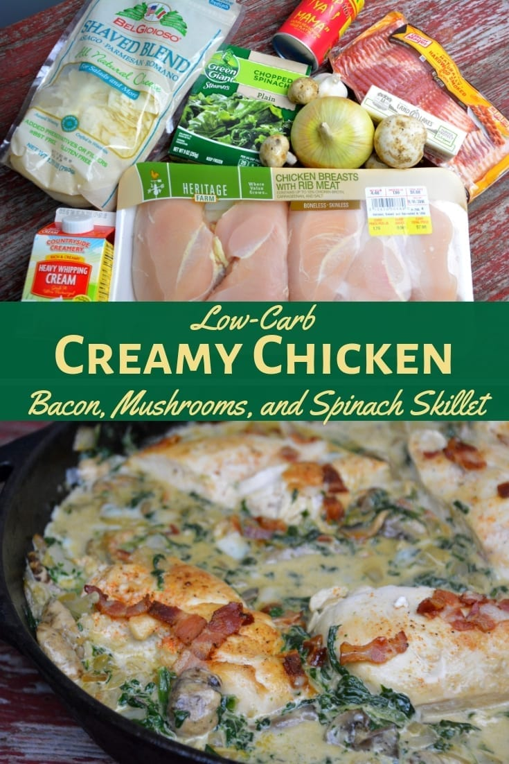 Low-Carb Creamy Chicken, Bacon, Mushroom, and Spinach Skillet is the new keto Tuscan chicken recipe that is a 15-minute meal. #Keto #Low-Carb #Chicken #Recipe #SkilletMeal #KetoRecipe