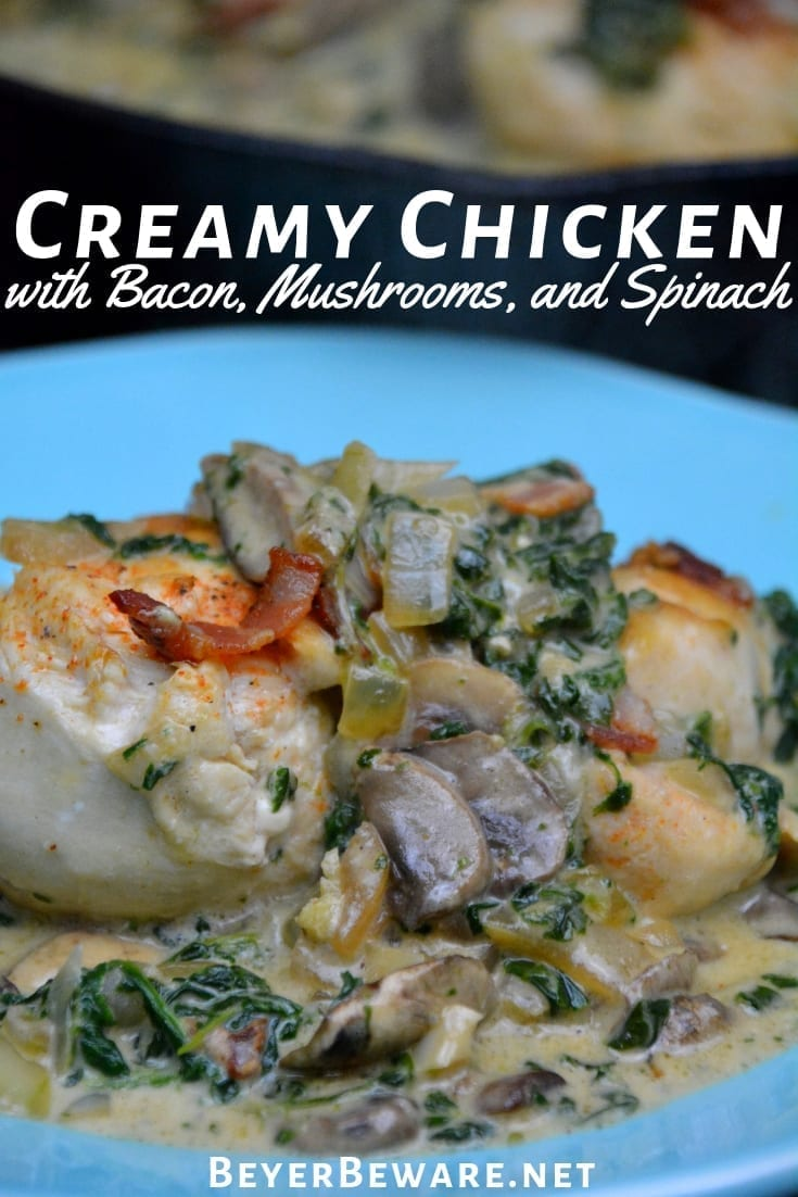 Low-Carb Creamy Chicken, Bacon, Mushroom, and Spinach Skillet is the new go-to 15-minute meal I make and then enjoy for lunch throughout the week. #LowCarb #Keto #Chicken #Bacon