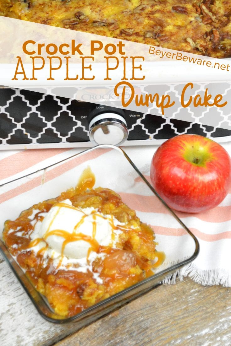 Crock Pot Apple Pie Dump Cake recipe is a few simple ingredients of apple pie filling, cake mix, butter and pecans and in the crock pot in a couple hours.