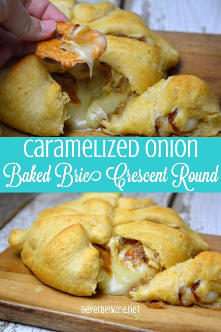 Caramelized onion baked brie crescent round is a simple combination of butter and onions browned until caramelized and piled into a brie round wrapped in crescent rounds. #brie #BakedBrie #Appetizers