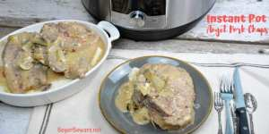 InstantPot Angel pork chops recipe combines wine, Italian seasonings, onions and mushrooms with cream of mushroom soup and cream cheese for a rich and creamy pork chop recipe. #Instantpot #Porkchops