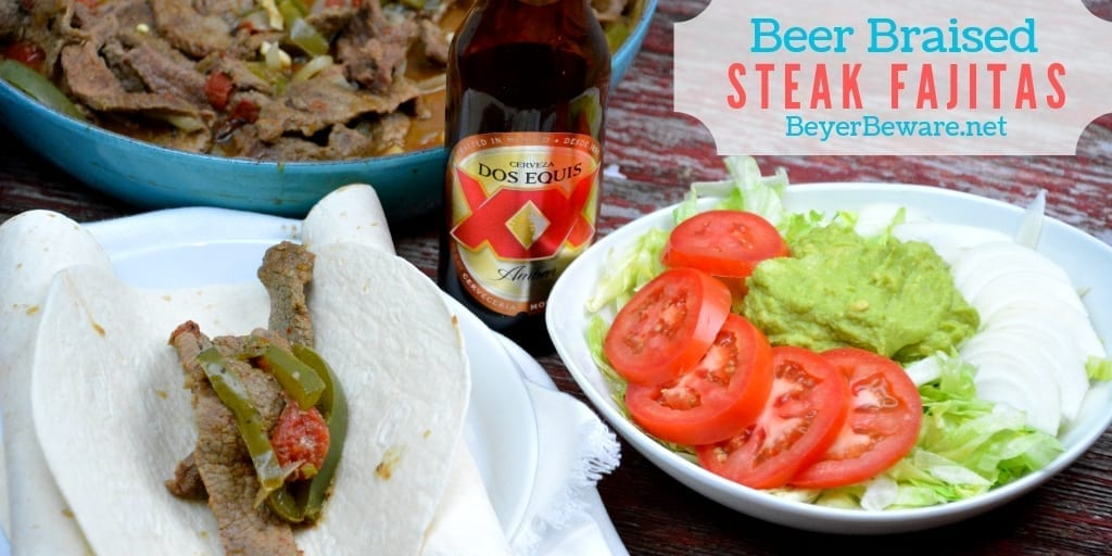 Beer braised steak fajitas are a quick skillet beef fajita recipe thanks to some fajita meet and tenderizing from the beer. #Fajitas #Steak #QuickMeals