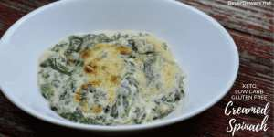 Keto Creamed Spinach is a simple gluten free creamed spinach recipe combining steamed spinach, butter, heavy whipping cream, and mozzarella and parmesan cheeses. #GlutenFree #LowCarb #Keto #SideDishes #Recipes #Keto #Spinach #Cheese
