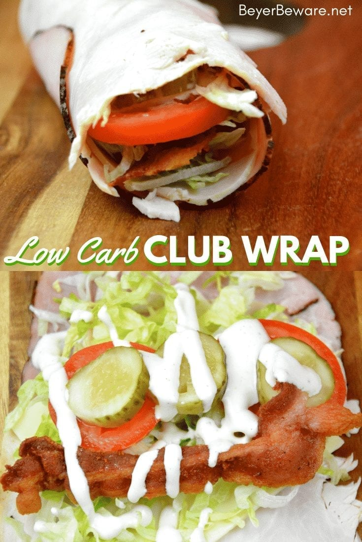 Low Carb club wraps use deli ham and turkey for the outside wrap and filled with cheese, bacon, shredded lettuce, pickles, tomatoes, and ranch to make gluten-free and keto club rollups. #Keto #lowcarb #GlutenFree #rollups #LowCarbRecipes #KetoRecipes