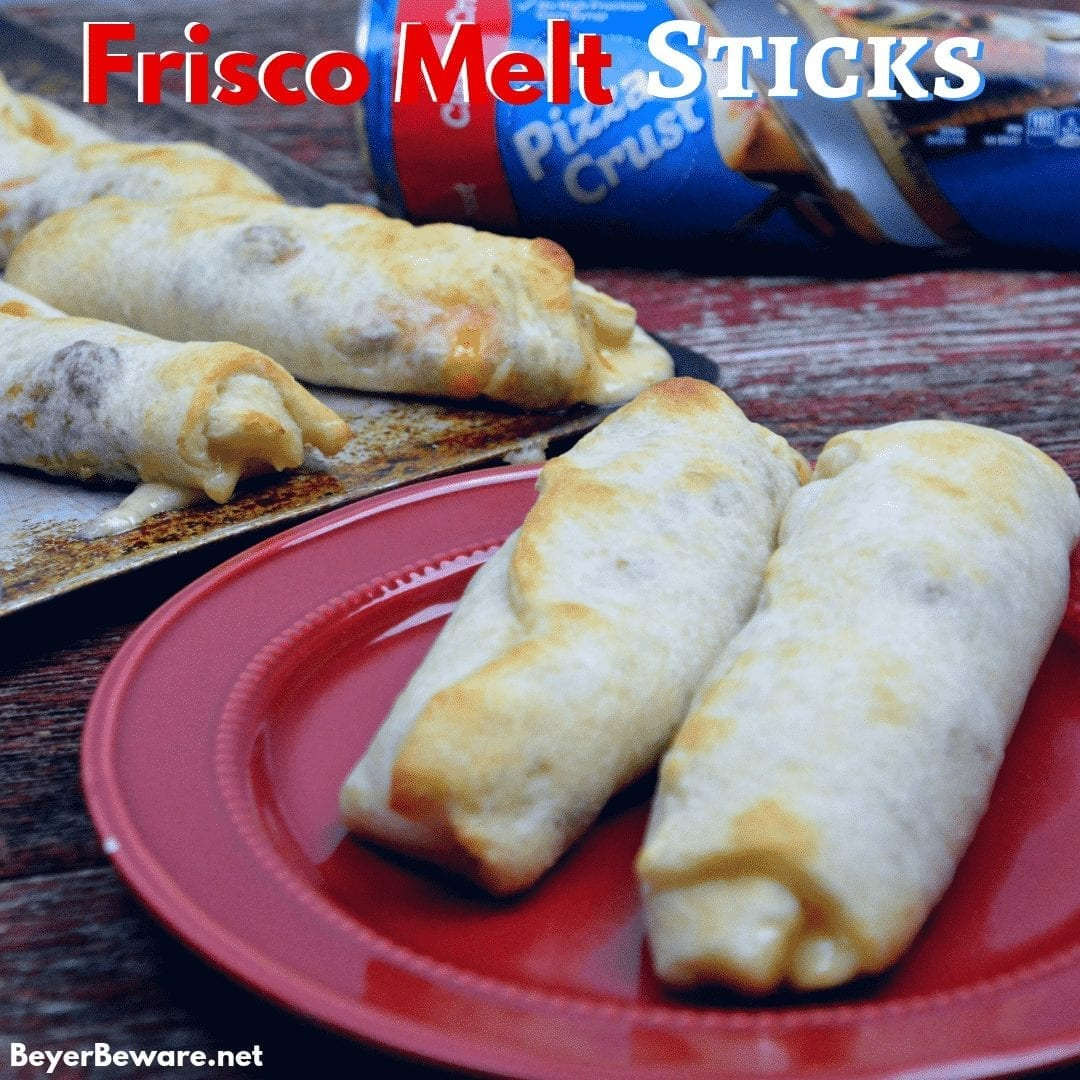 Frisco Melt Sticks combined browned hamburger with swiss cheese and a simple Frisco melt sauce to create the handheld stuffed Frisco Melt burgers. #FriscoMelts #Beef #Burgers #Handhelds #EasyMeals #EasyDinners