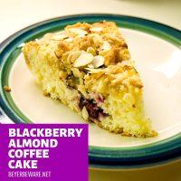 Blackberry almond coffee cake is a simple coffee cake recipe using buttermilk and almond flavorings for a moist and flavorful coffee cake that could easily pass as a dessert too. #Coffeecake #Blackberries #Cake #Almond