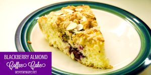 Blackberry almond coffee cake is a simple coffee cake recipe using buttermilk and almond flavorings for a moist and flavorful coffee cake that could easily pass as a dessert too. #Coffeecake #Blackberries #Cake #Almond