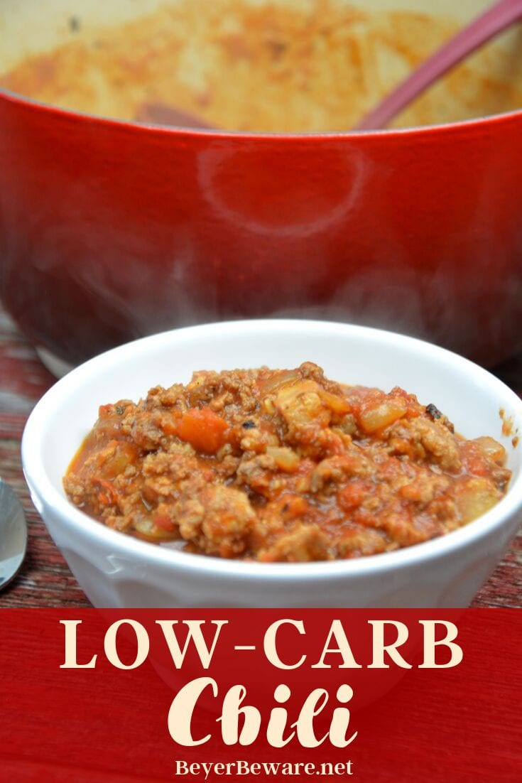 Low-Carb Chili is the perfect combination of flavors with a base of smokey bacon, onions and ground beef that becomes perfection with the addition of tomatoes and chili seasonings.