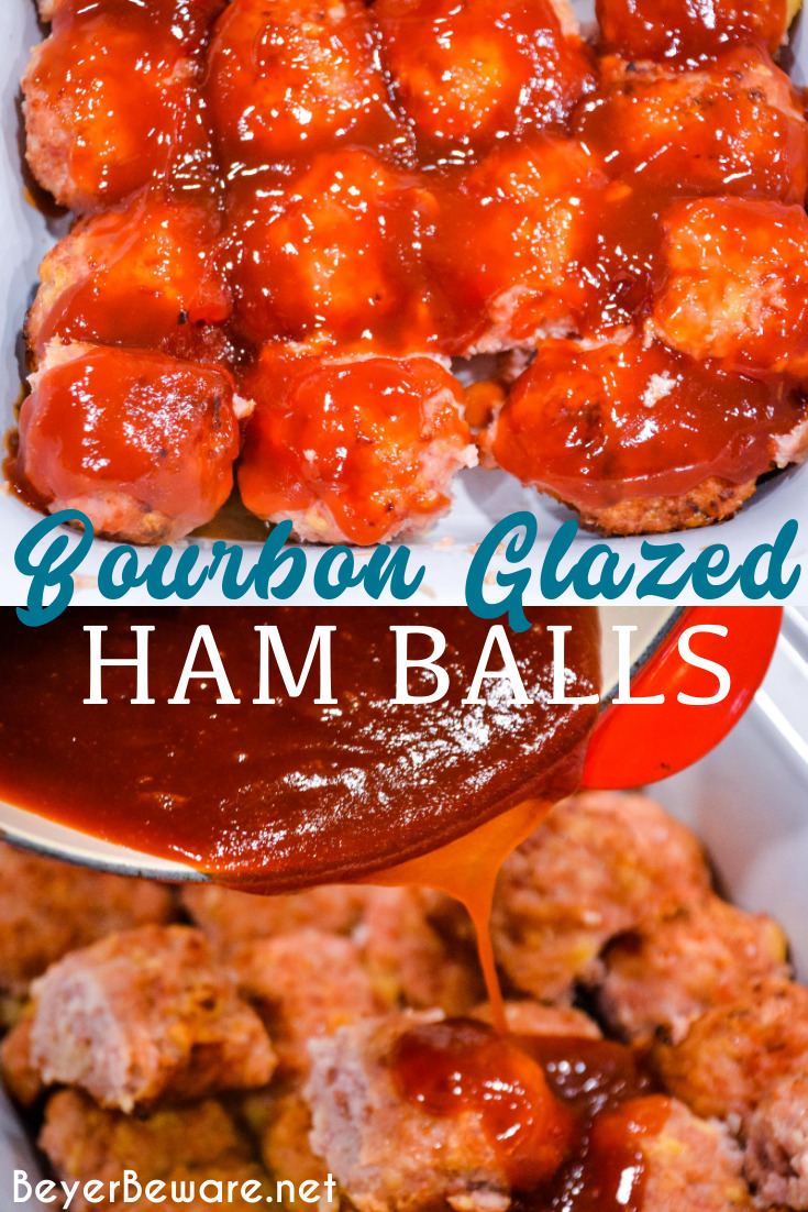 Bourbon Glazed Ham Balls are the pork meatball recipe that combines ground ham and ground and drenched in a sweet bourbon glaze for the sweet and savory ham ball.
