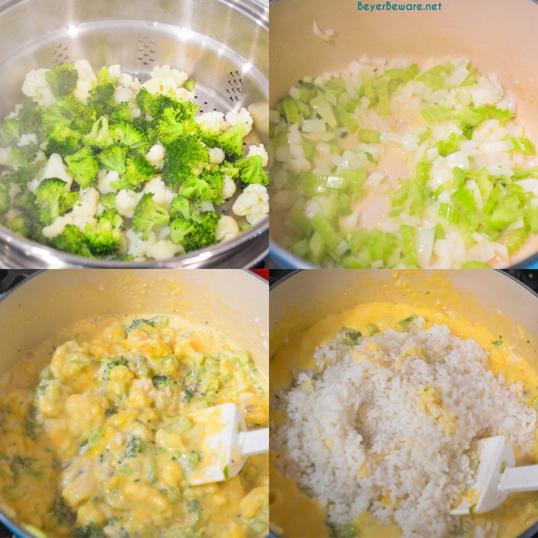 Cheesy ham, broccoli, and rice casserole quickly combined steamed broccoli and cauliflower, diced onions and celery, minute rice, and creamy cheese sauce.