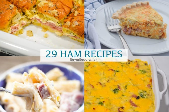 Theses 29 ham recipes are a great way to use up leftover ham to make ham breakfast, ham casserole recipes, ham soups, and ham sandwiches for an easy weeknight dinner.