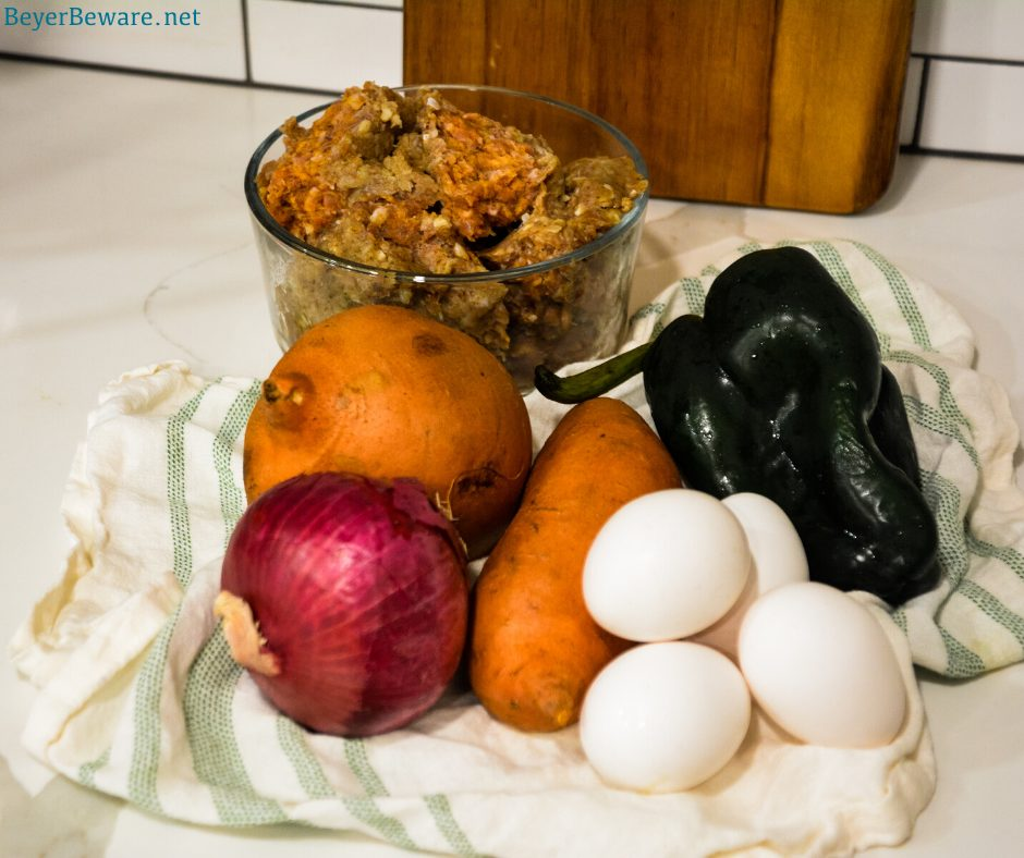 Here are the ingredients used in this sweet potato hash. Sweet potatoes - peeled Hot sausage - breakfast sausage will work just fine too Onions - purple for color but yellow, white, or sweet also Poblano peppers - these are totally optional, but if you aren't cooking with poblano peppers, you are missing out Eggs Seasonings and herbs - salt, pepper, and sage