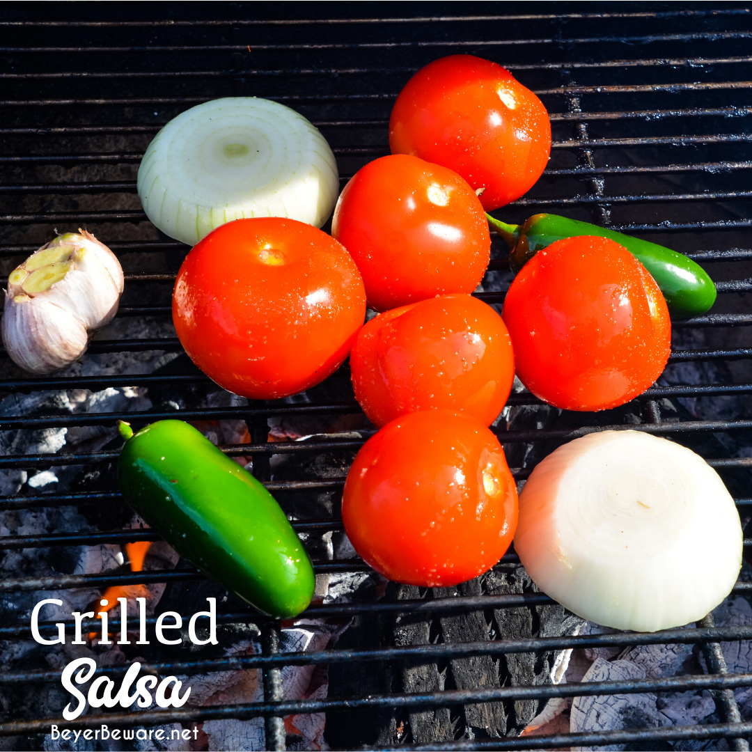 Fire-roasted salsa recipe grills garden fresh tomatoes, jalapenos, onions, garlic, and cilantro for a flame-grilled salsa recipe that is outrageously good.