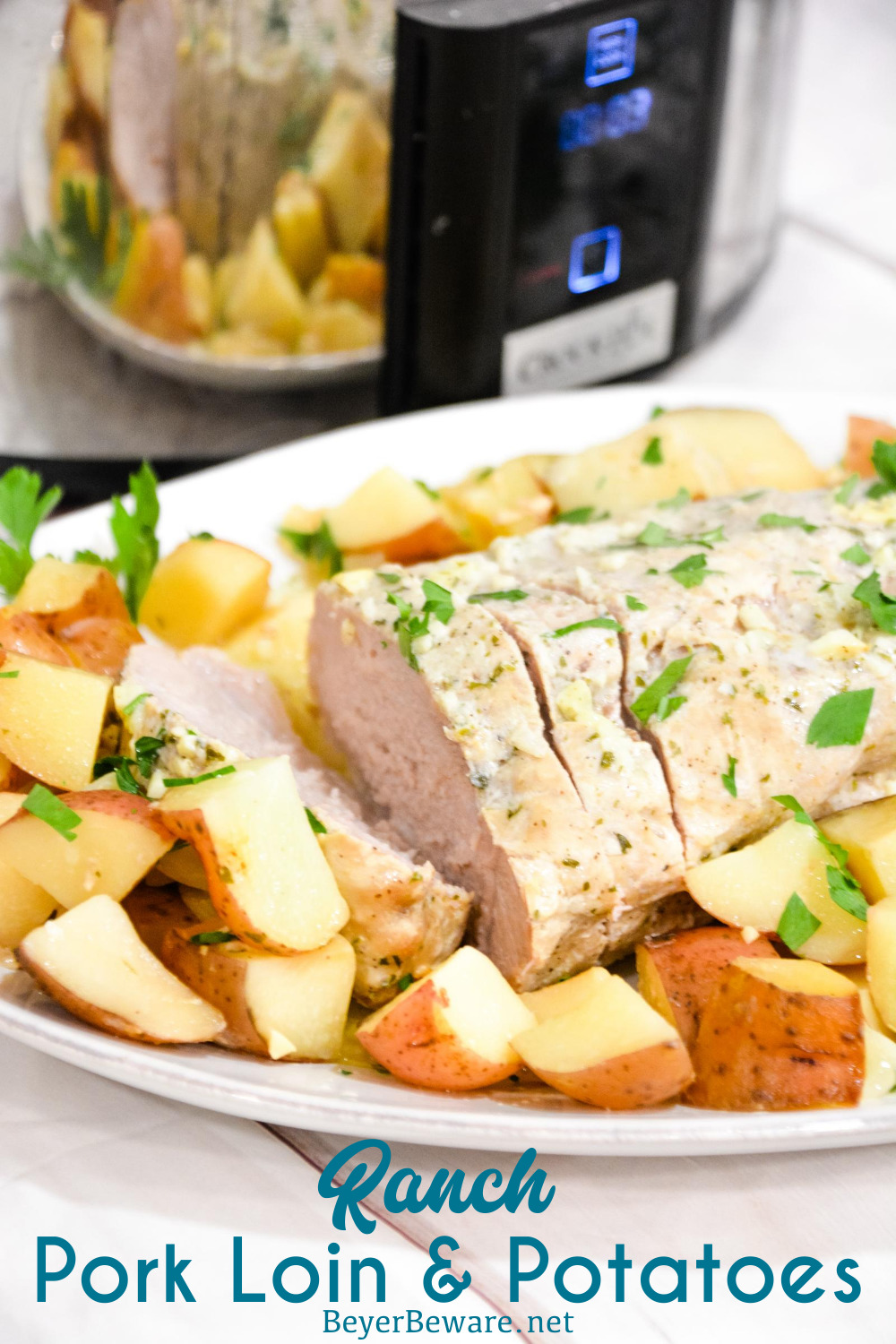 Crock pot pork loin roast and potatoes is an easy dump and go crock pot pot ranch pork loin recipe that will look and taste fancy when you serve it for dinner.