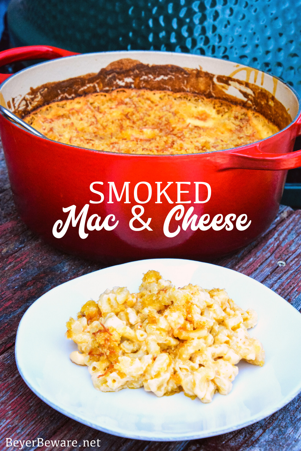 Smoked mac and cheese is an over the top macaroni and cheese recipe using a cheesy garlic white sauce combined with four kinds of cheese and then smoked on the Big Green Egg for an hour.