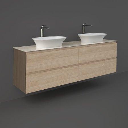 RAK-JOY - JOYWH100SOK X2 Wall Hung Vanity Unit, Scandinavian Oak