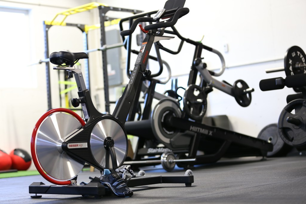 spin bike and gym equipment