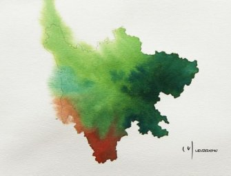 Watercolor Maps of Chinese Provinces