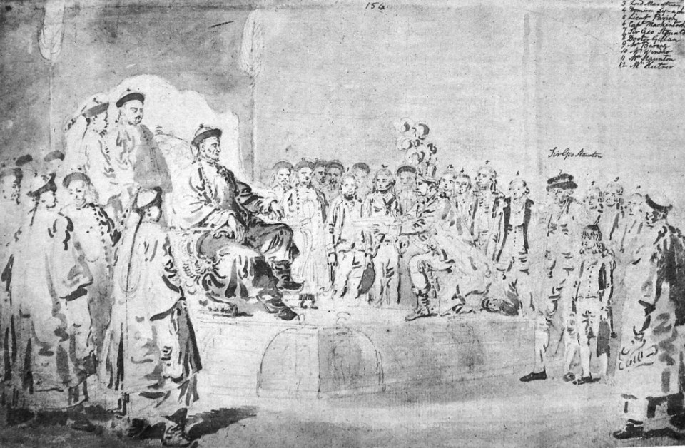 William Alexander - Lord Macartney Embassy To China 1793. Macartney's first meeting with Qianlong. The boy on the right is the eleven-year-old George Staunton who impressed the Emperor with his spoken Chinese. via Wikipedia