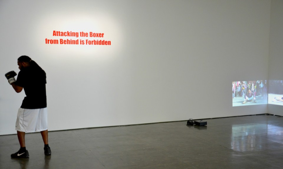 Installation view, Attacking the Boxer from Behind is Forbidden (2015)