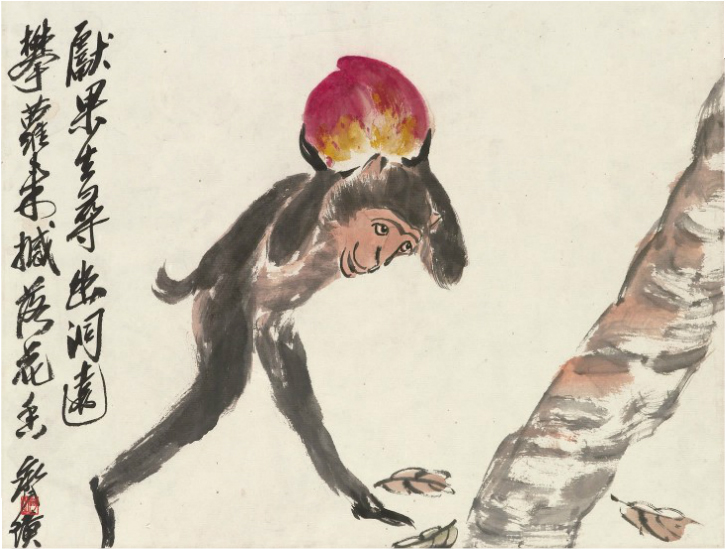 Qi Baishi – Monkey Longevity Peach