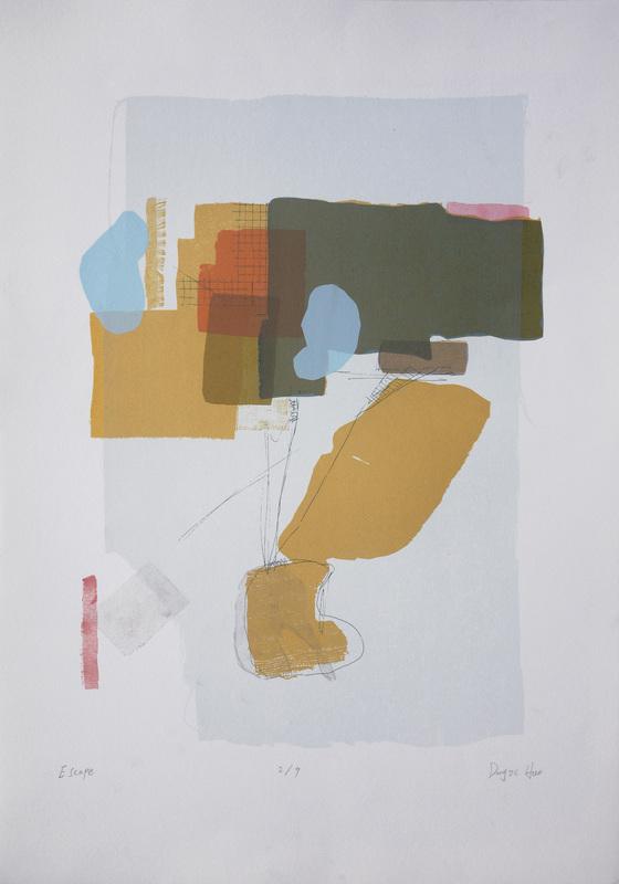 "Escape, Silk-Screen on BFK, 21""x15"", 2014"