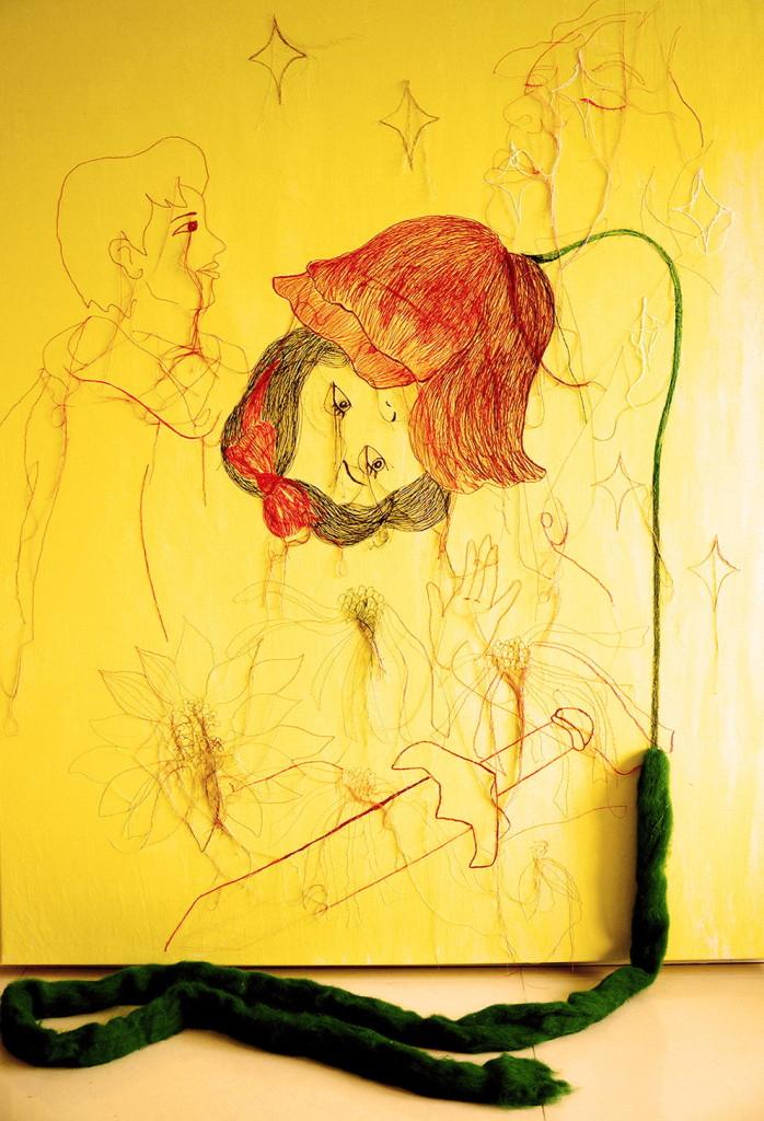 CHANG En-Tzu 張恩慈 Perfect Imperfection - 1 不完美的完美 - 1 2013, Acrylic and Embroidery on Canvas彩色繡線,毛線,壓克力顏料,畫布 155 x 128 x 5 cm