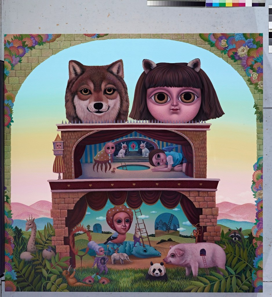 CHANG Chia-Ying 張嘉穎 The Wolf and A Fairy Fox At the Magical Theatre 大野狼與小狐仙的魔幻劇場 2014 Acrylic on Canvas 壓克力、畫布 150 x 150 x 20 cm Private collection 私人收藏