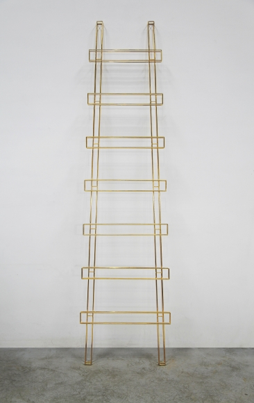 Gao Weigang, Where #4, 2015 Gold on the stainless steel 88 7/8 x 22 x 3 1/8 inches (213 x 56 x 8 cm)