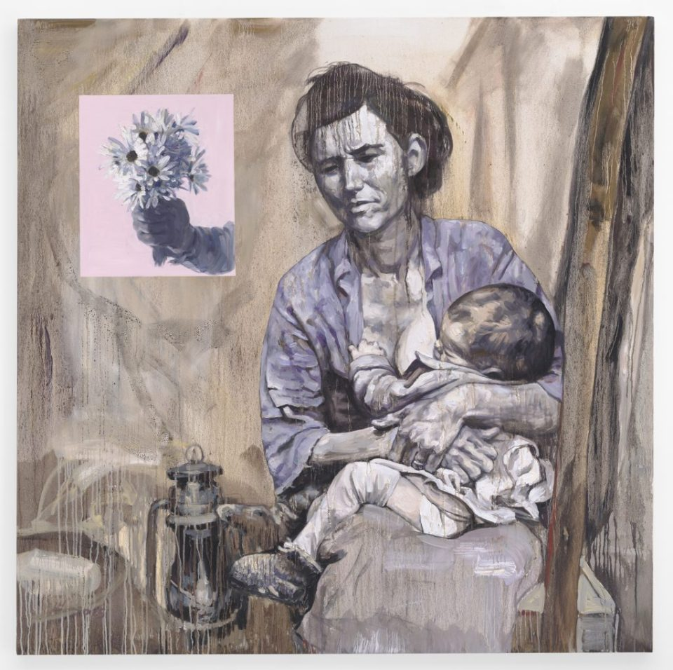 Hung Liu - 'Migrant Mother', 2015. Oil on canvas, 66 x 66 in.