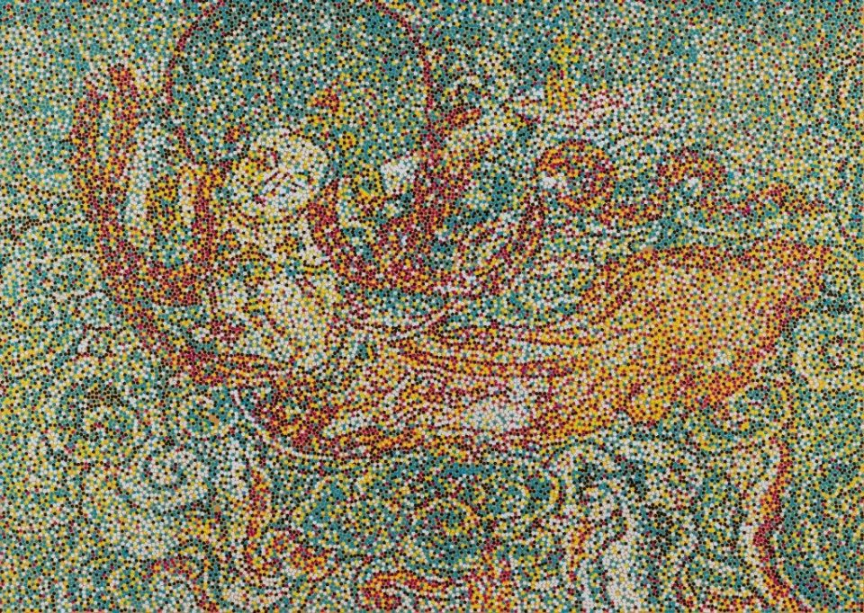 Yang Main - CMYK - Jin Dynasty Flying Asparas, 2016. Acrylic on canvas, 39.25 x 55 in. (100 x 140 cm) Courtesy of M. Sutherland Fine Arts