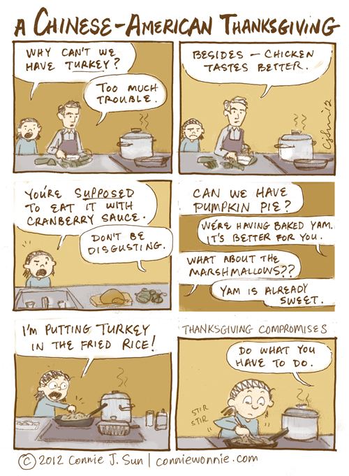 Every Chinese American kid's Thanksgiving experience. Courtesy of Connie Sun