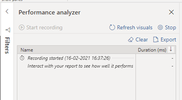 Performance Analyzer Filters