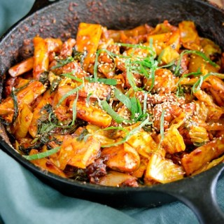 Dak-galbi is a spicy Korean chicken stir-fry with vegetables
