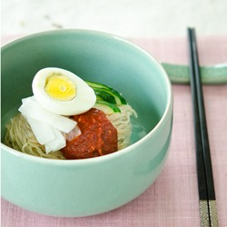 Naengmyeon is Korean style spicy cold noodles