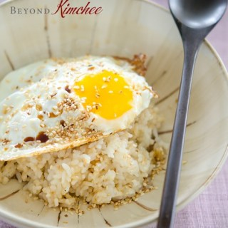 Rice bowl made with fried egg, soy sauce and sesame oil