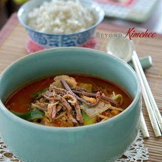 Yukgaejang is a traditional Korean spicy beef stew