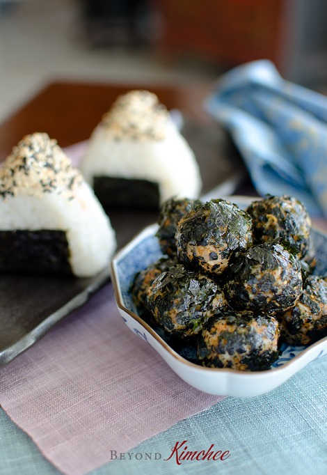 Kimchi Tuna Rice Balls and Patties are made with leftover rice,vcanned tuna and seaweed.